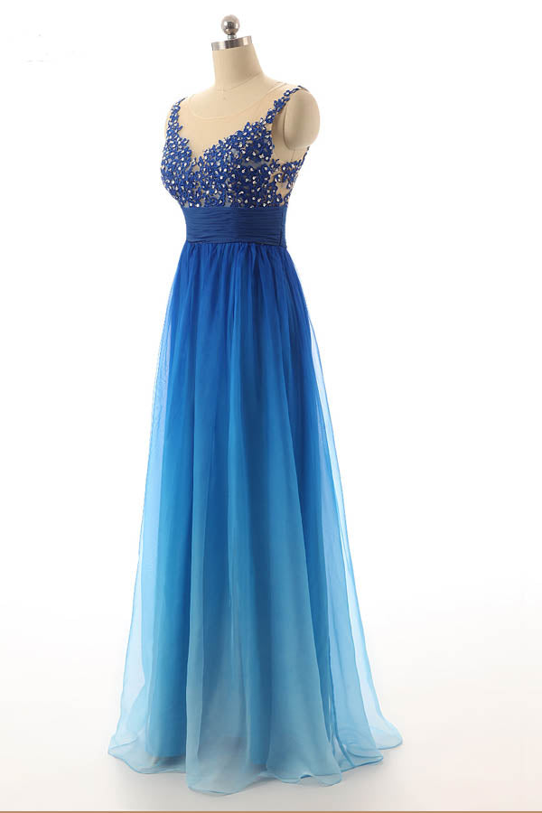 Ombre A Line Floor Length Sleeveless Sheer Back Appliques Beading Prom Dress,Party Dress