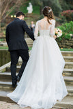 White Ball Gown Court Train Sweetheart 3/4 Sleeve Layers Wedding Dress,Cheap Wedding Dress W247