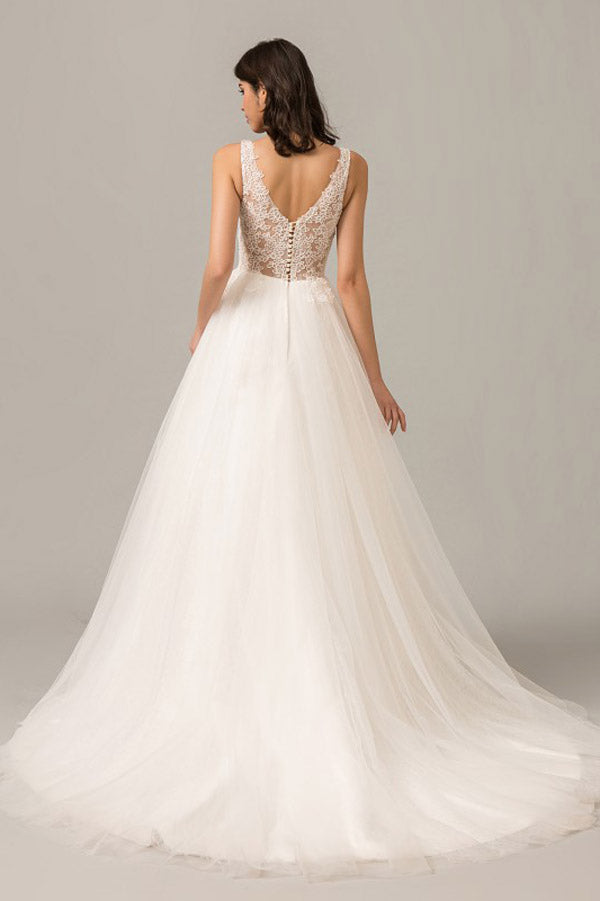 White A Line Court Train V Neck Sleeveless Layers Wedding Dress,Perfect Wedding Dress W274