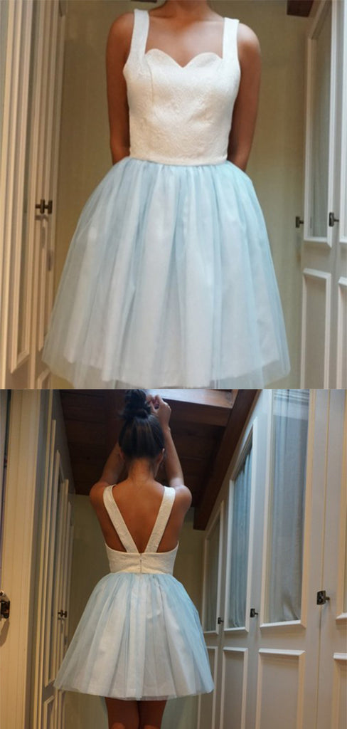 Chic Sweetheart Neck Tulle With Appliques Homecoming Dress M488