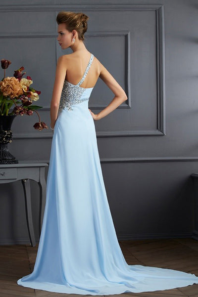 Blue A Line Sweep Train One Shoulder Sleeveless Chiffon Side Slit Prom Dress,Formal Dress P285 - Ombreprom