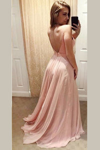 Pink A Line Floor Length Sweetheart Spaghetti Backless Chiffon Prom Dress,Party Dress P324 - Ombreprom