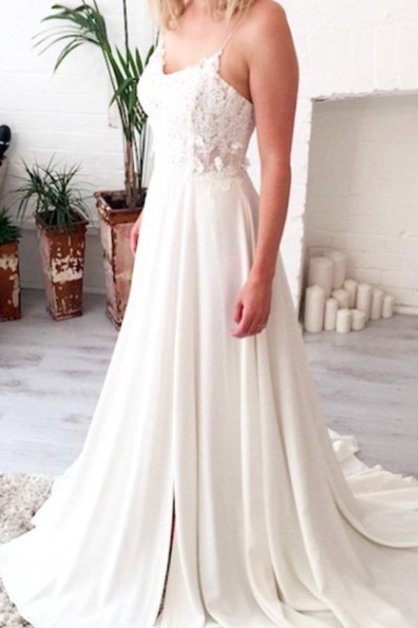 A Line Sweep Train Sweetheart Spaghetti Side Slit Appliques Wedding Gown,Beach Wedding Dress