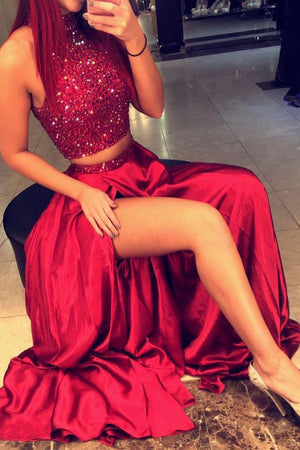 Red A Line Two Piece Floor Length Halter Side Slit Beading Long Prom Dress,Party Dress