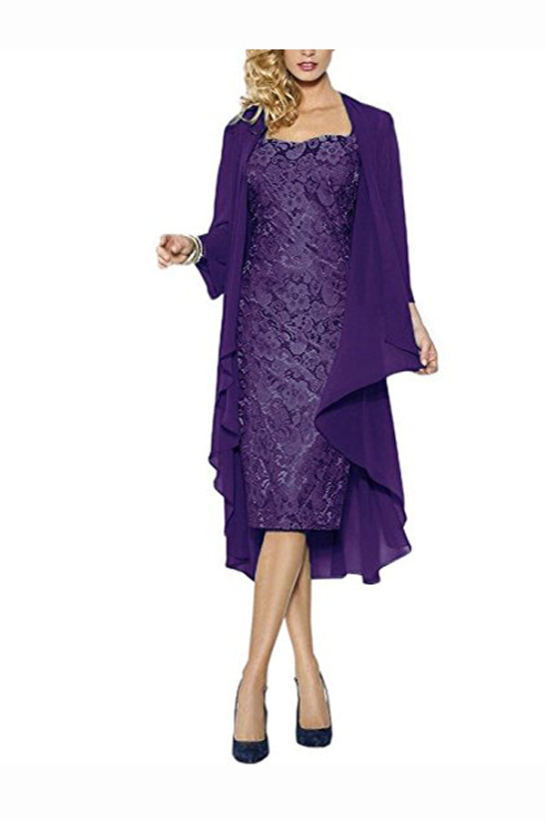 Purple Sheath Knee Length Cap Sleeves Lace Up Mother of the Bride Dresses