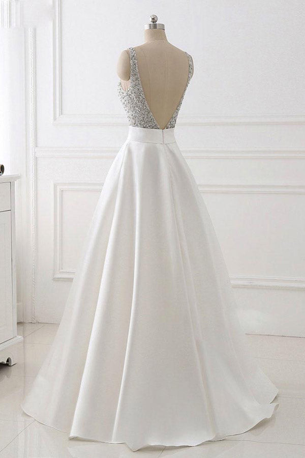 A Line Brush Train Deep V Neck Sleeveless Beading Prom Dress,Party Dress P483