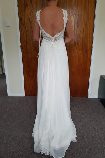 A Line Sweep Train Sweetheart Backless Appliques Cheap Wedding Gown,Beach Wedding Dress W148 - Ombreprom