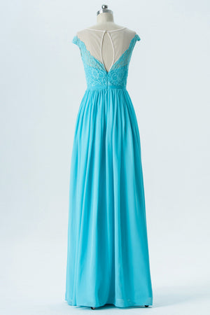 Pool Blue A Line Floor Length Sheer Neck Capped Sleeve Lace Appliques Cheap Bridesmaid Dresses OB133 - Ombreprom