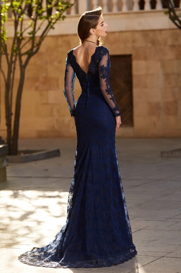 Blue Sheath Brush Train Long Sleeve V Neck Lace Prom Dress,Party Dress P385 - Ombreprom