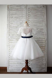 White A Line Floor Length Jewel Neck Short Sleeve Keyhole Back Flower Girl Dresses,Baby Dress F11
