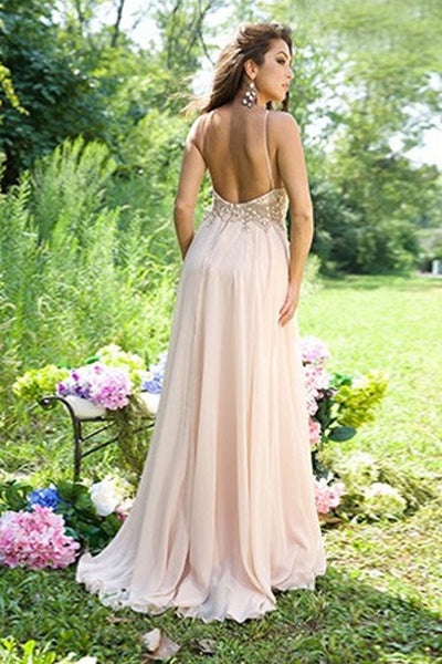 A Line Floor Length Halter Sleeveless Backless Beading Evening/Prom Dress P74 - Ombreprom