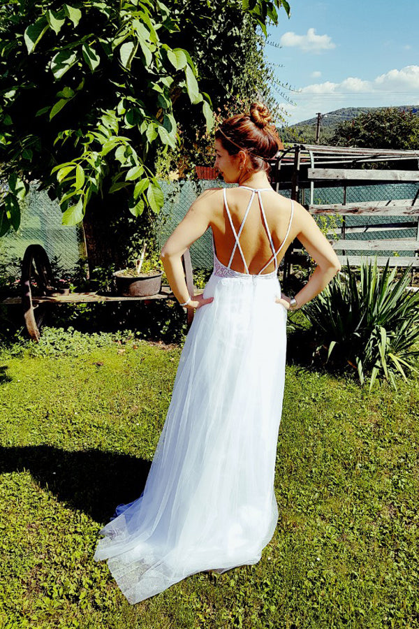 A Line Floor Length Halter Backless Appliques Wedding Gown,Beach Wedding Dress W147 - Ombreprom