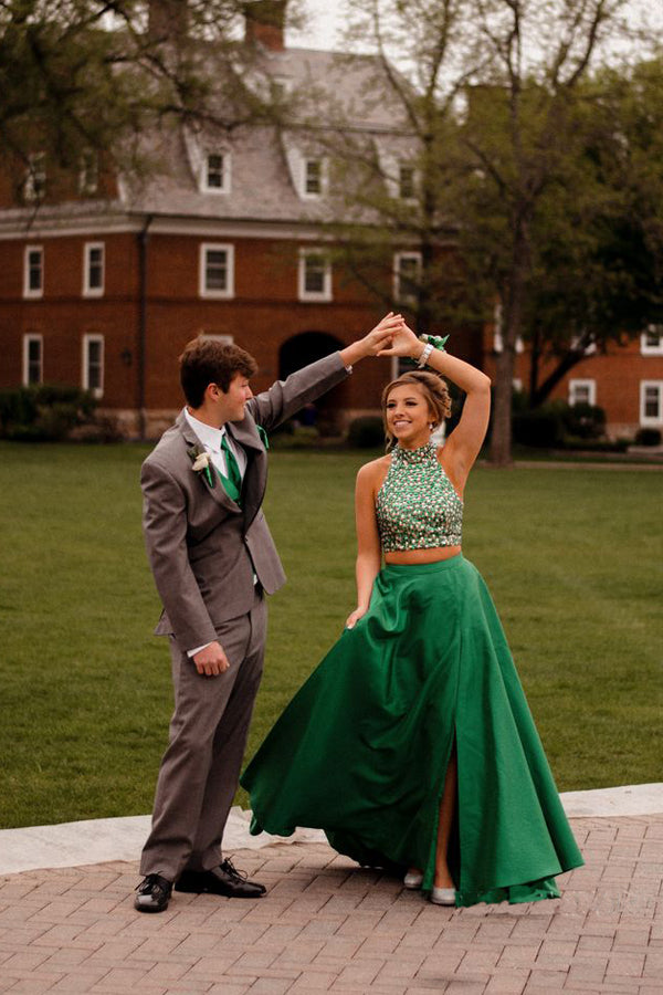 Green Two Piece Floor Length Halter Sleeveless Keyhole Back Beading Prom Dress,Formal Dress