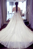 White A Line Court Train Sweetheart Sleeveless Beading Wedding Dress,Wedding Gowns W285