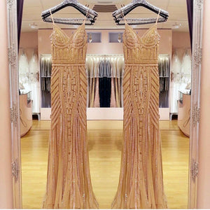 Luxurious Sheath Long Sweep Train Spaghetti Straps Sleeveless Prom Dresses Fashion Dresses P70
