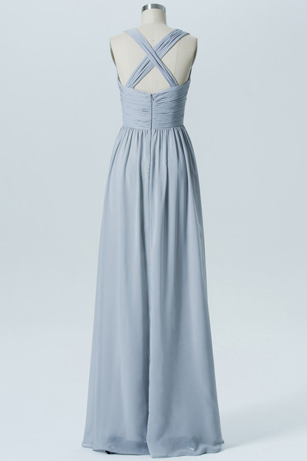 Storm Grey A Line Floor Length Sweetheart Scoop Sleeveless Open Back Cheap Bridesmaid Dresses B141