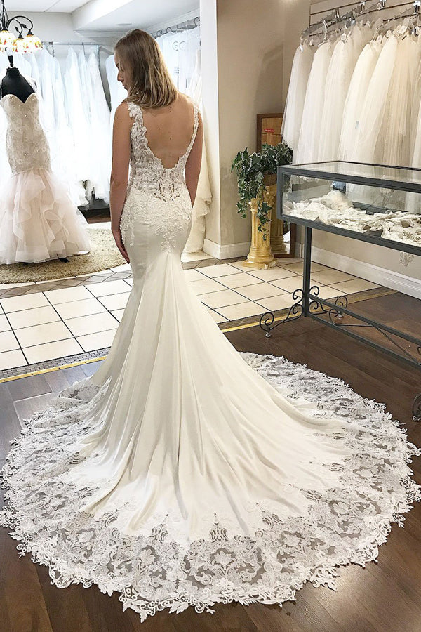 White Mermaid Court Train Deep V Neck Sleeveless Applique Wedding Dress,Perfect Wedding Dress W268