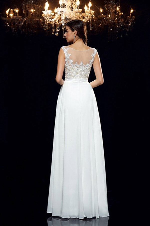 White A Line Floor Length Sleeveless Appliques Beading Chiffon Prom Dress,Party Dress P370