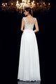 Ivory A Line Floor Length Sleeveless Appliques Beading Chiffon Prom Dress,Party Dress P370