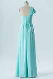 A Line Floor Length One Shoulder Sleeveless Cheap Bridesmaid Dresses B171