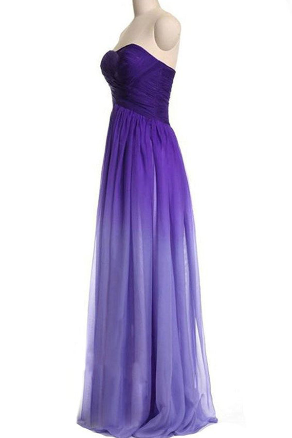 Ombre A Line Brush Train Sweetheart Chiffon Prom Dress,Formal Dress O29 - Ombreprom