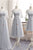 Gray A Line Sheer Neck Half Sleeve Appliques Cheap Bridesmaid Dresses