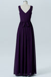 Plum Purple A Line Floor Length V Neck Sleeveless V Back Cheap Bridesmaid Dresses B197 - Ombreprom