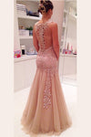 Elegant V Neck Layers Tulle Prom Dress,Sheer Back Appliques Floral Evening Dress OMP31 - Ombreprom