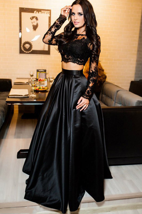 Black Two Piece A Line Brush Train Long Sleeves Lace Prom Dress,Party Dress P491 - Ombreprom