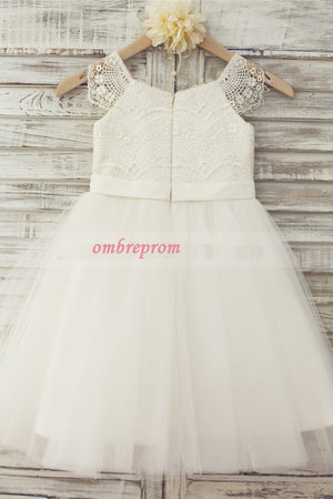 White A Line Floor Length Sleeveless Zipped Back Lace Flower Girl Dresses,Baby Dress F23