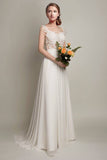 Elegant Ivory Lace Chiffon Long A Line Brush Train Cap Sleeves Beach Wedding Dresses For Bride W207