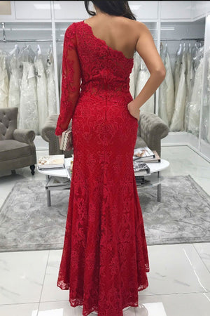 Charming Red Lace Long Sleeves One Shoulder With Split Side Prom Dress P029