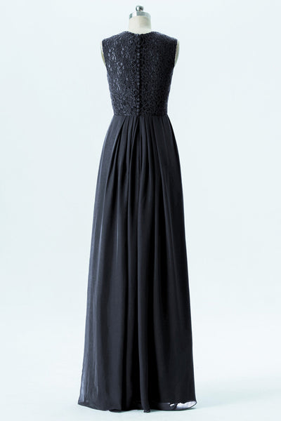 Black A Line Floor Length Curve Neck Lace Appliques Cheap Bridesmaid Dresses B195