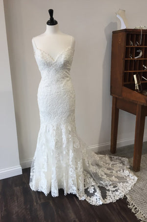 White Trumpet Court Train Sweetheart Spaghetti Lace Wedding Gown,Cheap Wedding Dress
