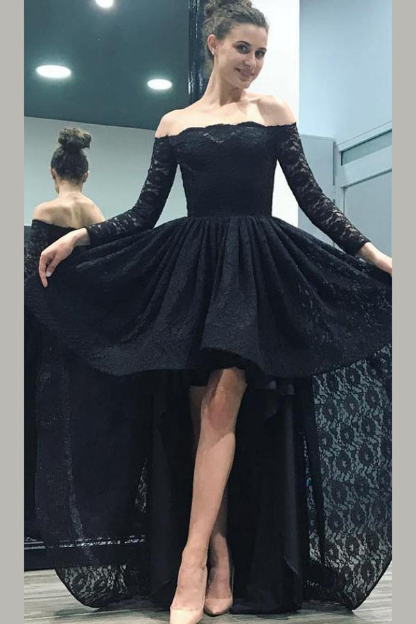 Black A Line Asymmetrical Long Sleeve Mid Back Lace Long Prom Dress,Party Dress P211