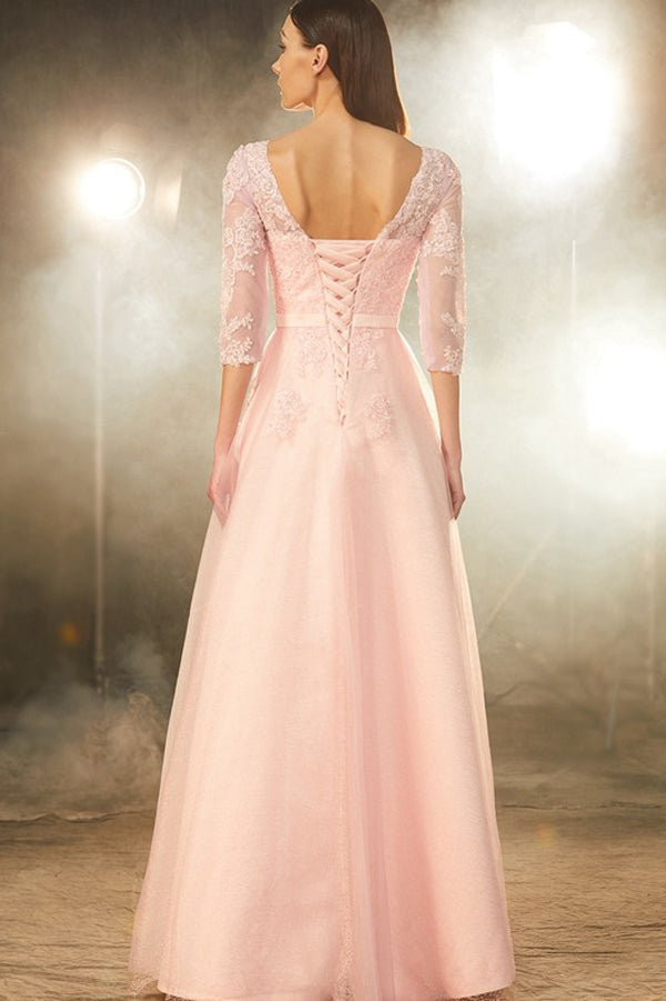 Pink A Line Floor Length Sheer Neck 3/4 Sleeve Lace Prom Dress,Party Dress P350 - Ombreprom