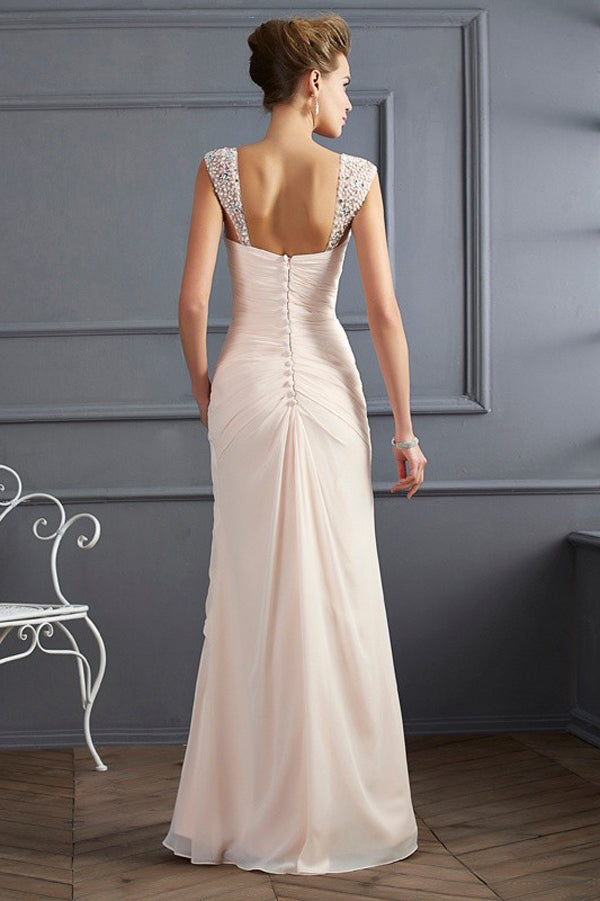 A Line Floor Length Sweetheart Sleeveless Mid Back Chiffon Beading Prom Dress,Party Dress P363 - Ombreprom