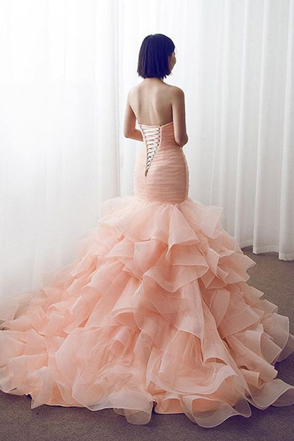 Mermaid Court Train Sweetheart Sleeveless Ruffles Lace Up Wedding Gowns,Wedding Dress W252