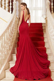 Red Trumpet Brush Train Straps Sleeveless Backless Spandex Prom Dress,Party Dress P359 - Ombreprom