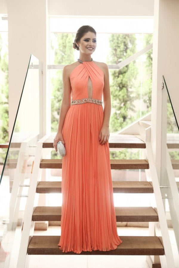 Mint A Line Floor Length Halter Sleeveless Backless Chiffon Prom Dress,Party Dress P334 - Ombreprom
