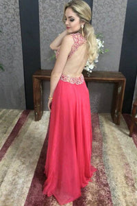 Red A Line Floor Length Deep V Neck Sleeveless Backless Chiffon Prom Dress,Party Dress P438 - Ombreprom