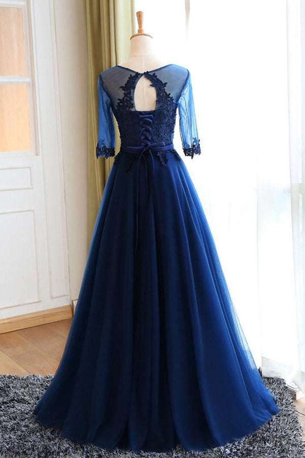 Navy Blue A Line Floor Length Half Sleeve Keyhole Back Appliques Long Prom Dress,Party Dress P187 - Ombreprom