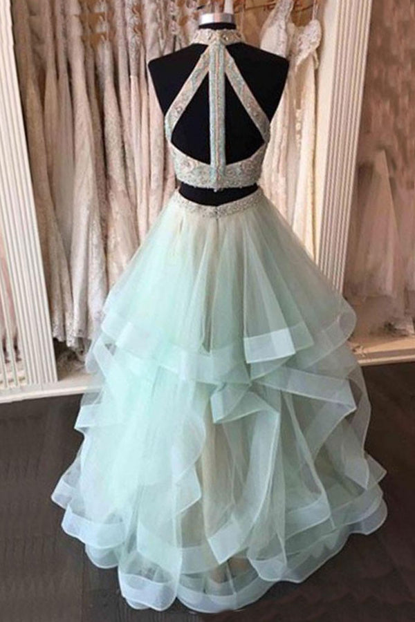 Two Piece A Line Floor Length Halter Sleeveless Appliques Ruffles Prom Dress,Evening Dress P251 - Ombreprom