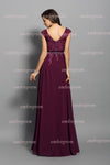 Burgundy A line Floor Length Capped Sleeve V Back Appliques Prom Dress,Formal Dress P289 - Ombreprom