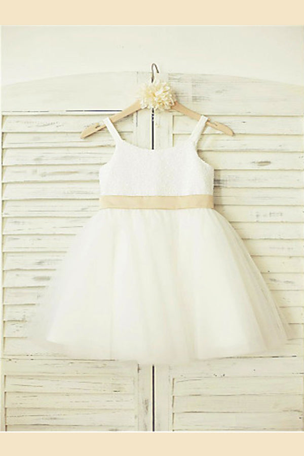 White A Line Floor Length Straps Sleeveless Bowknot Flower Girl Dresses,Baby Dress F18