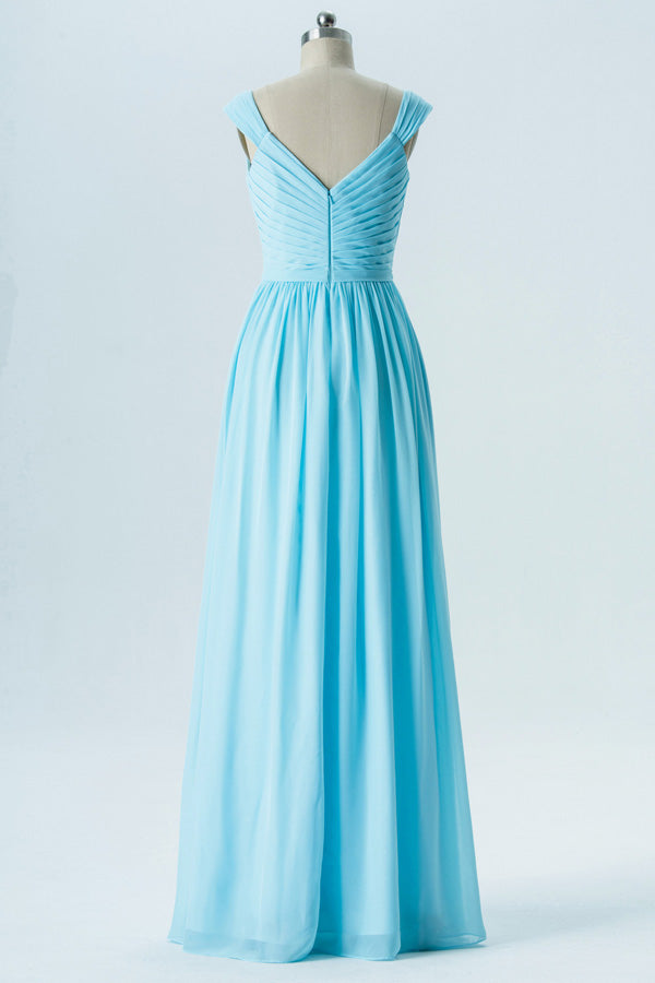 Pastel Blue A Line Floor Length Sweetheart Sleeveless Open Back Cheap Bridesmaid Dresses B139 - Ombreprom
