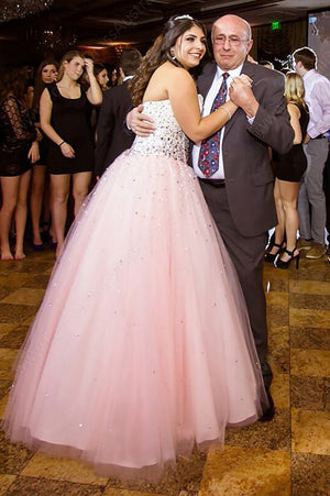 Pink A Line Floor Length Sweetheart Strapless Sleeveless Beading Plus Size Prom Dresses S13 - Ombreprom
