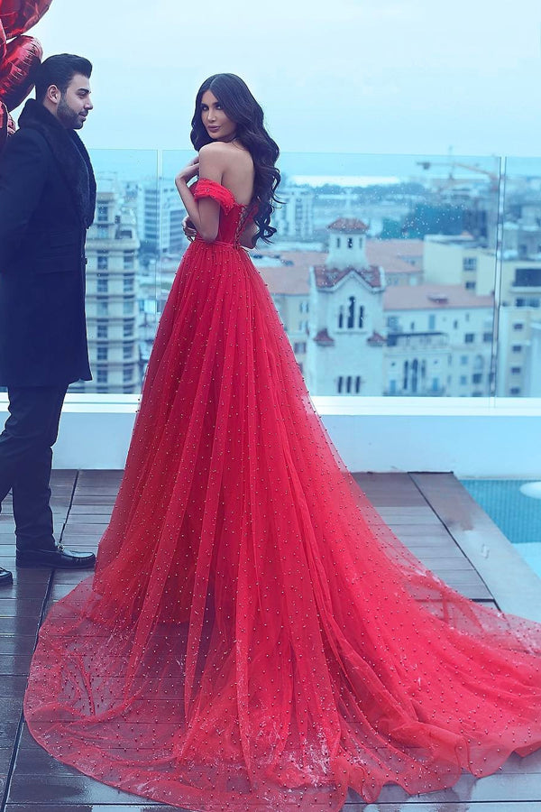 Red A Line Court Train Off Shoulder Sweetheart Sleeveless Lace Up Prom Dress,Party Dress P422 - Ombreprom