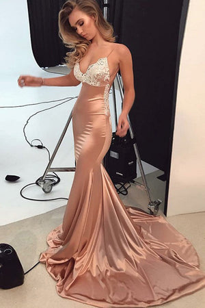 145a506f748aa Impressive Mermaid Satin Backless Spaghetti Straps Prom Dress Lace  Appliques Sweep Train P835
