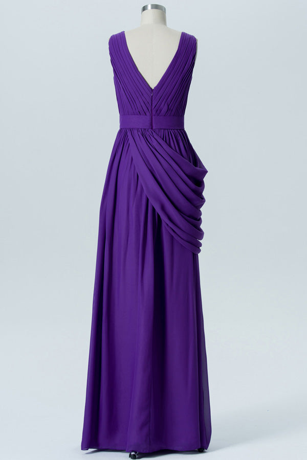 Royal Purple A Line Floor Length V Neck Sleeveless Deep V Back Cheap Bridesmaid Dresses B179 - Ombreprom